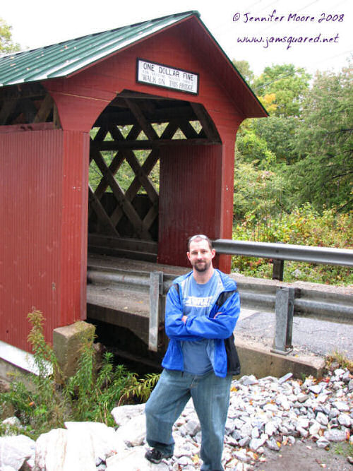 James in front of the Chiselville Covered Bridge