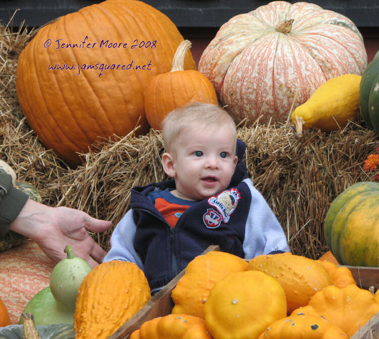 Cameron in the Pumpkin Pickup outside of the Vermont Country Store