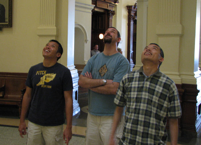 Ranger, James and Eric Looking Up at the Inside of the Dome