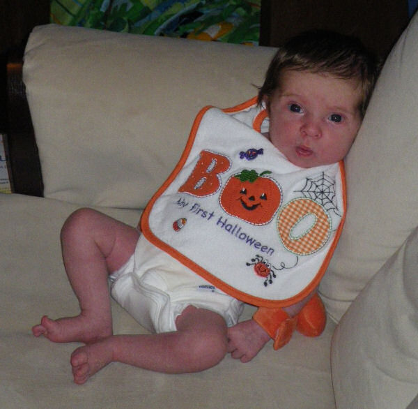 Jessica in her Halloween Bib