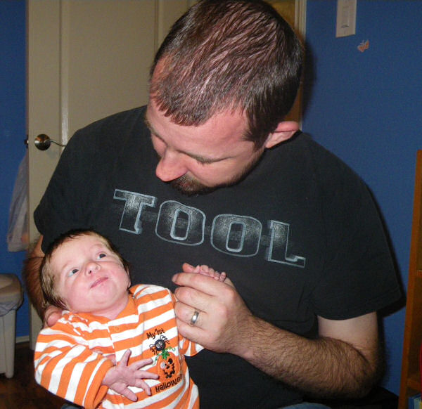 Halloween Baby and her Daddy Before Going to Bed
