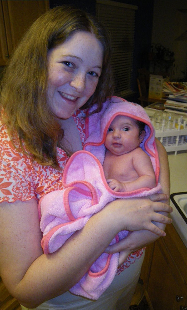 Mommy and Jessica After Bath Time