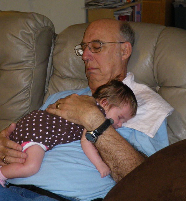 Jessica and her Grandpa Snoozing